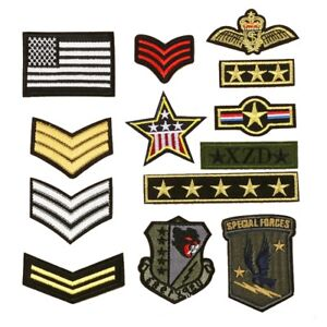 13Pcs-Iron-Sew-on-Patch-Military-Army-Soldier-Rank-Insignia-Embroidered-Badge