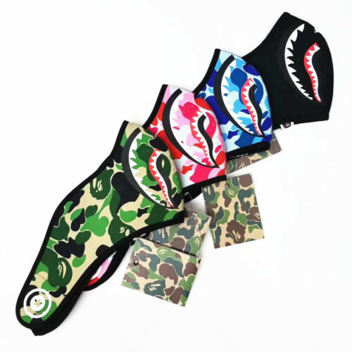 New A Bathing Ape Bape Green Camo Pink Blue Shark Face 4 Color Mask Fashion Mask