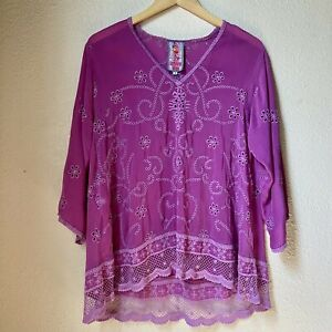 Johnny-Was-Floral-Embroidered-Eyelet-Flowy-Tunic-Magenta-SMALL