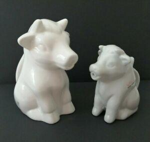 2x Porcelain White Cow Milk Jugs With Handle - Coffee Tea Creamer Non-Drip Spout