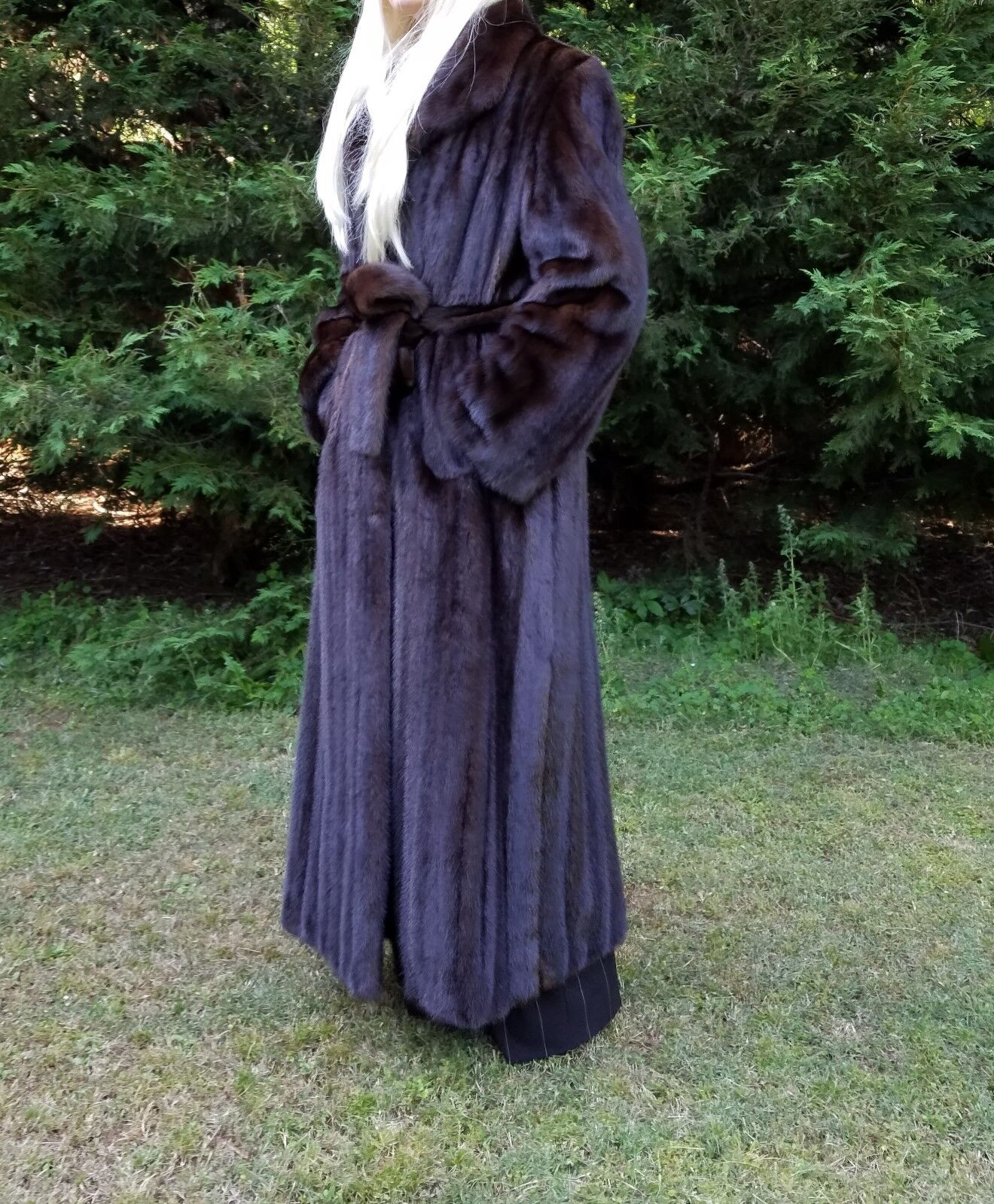 Quality luxurious mahogany dark brown mink fur belted long 52inch coat,sz.S M