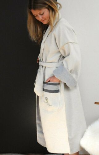 9512//60 David Fussenegger Kimono mit Stick Stick Edelweiß L//XL Rohweiß