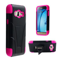 Hybrid Rubber Shockproof Gel Hard Case Cover Kickstand For Samsung Galaxy J3