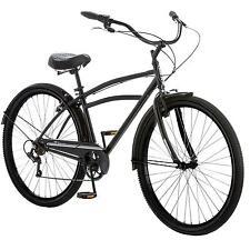 "29"" Men's Cruiser Bike Schwinn Black Steel Frame Classic Bicycle Fenders 7 Speed"