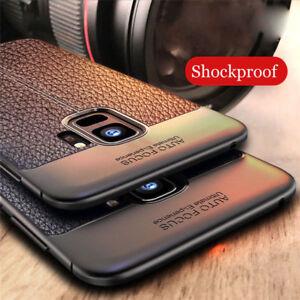 big sale 7b822 7e40a Detalles acerca de Para Samsung Galaxy A6 A8+ 2018/S9 plus a prueba de  golpes Goma Cuero Funda Cubierta Trasera- mostrar título original