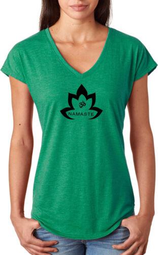 Yoga Clothing For You Black Namaste Lotus Triblend V-neck Yoga Tee Shirt