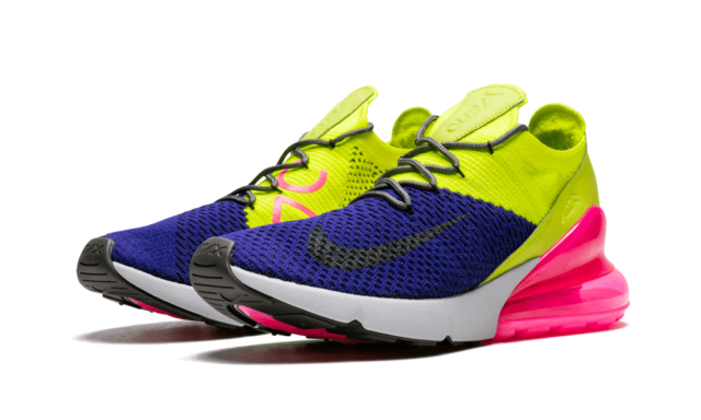 best loved 9aab2 22477 Nike Air Max 270 Flyknit Running Shoes Purple Volt Pink Men 11 Ao1023-501