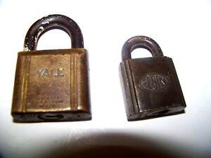 lot-of-2-Vintage-brass-padlocks-YALE-and-ELGIN-LOCKS-no-keys