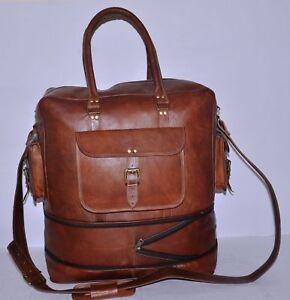 69b09a288c Leather Dark Brown Travel Bag Duffle Gym Men Vintage Luggage ...