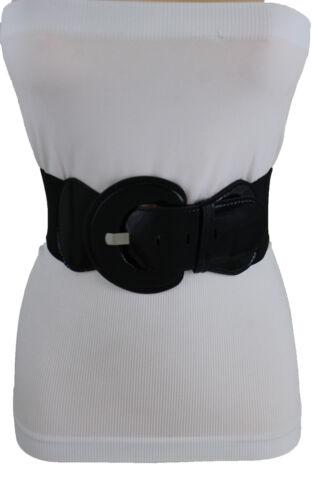 Women Fashion Round Buckle Belt Black Faux Patent Leather Elastic Band M L XL