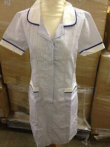 NURSES / CARE HOME / CLEANING  /  TUNIC UNIFORM LONG DRESS BLUE STRIPE