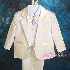 5pc Set Formal Suits Outfits Christening Wedding Boys Ivory Size 18m-24m #022A
