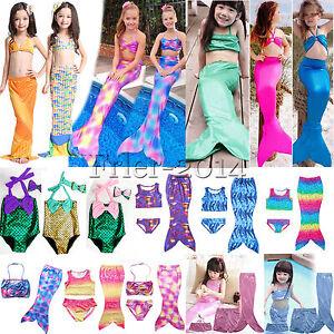 Kids-Girls-Children-Mermaid-Tail-Swimmable-Swimwear-Bikini-Set-Swimsuit-Costume