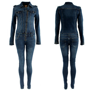 Womens Denim Jumpsuit Overall One Piece Stretch Slim Fit Play Suit