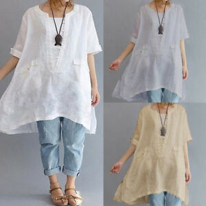 Summer-Women-Short-Sleeve-Vintage-Loose-Casual-Tops-Blouse-Shirt-Dress-Plus-Size