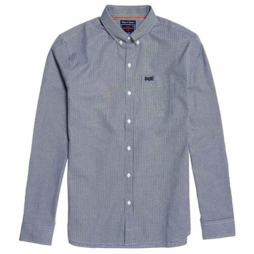 Superdry Classic London Gingham Button Down L//S Shirt Navy 4H6
