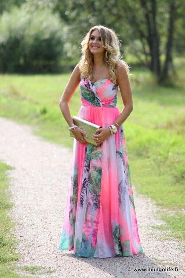 NEW Forever Unique Fleur Tropical Floral Multi Print Maxi Long Dress & Shawl 8