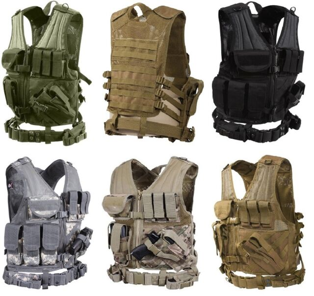 Military Police Sheriff /& Law Enforcement Cross Draw Tactical Vest With Holster