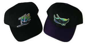 2PC-Genuine-Merchandise-90-039-s-Tampa-Bay-Devil-Rays-MLB-Adult-Hat-W-O-Tags