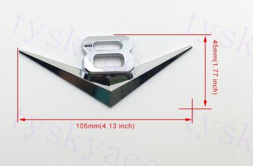 Auto Car Parts Trim Gift Chrome Metal Decal Sticker 3D V8 V 8 Logo Emblem Badge