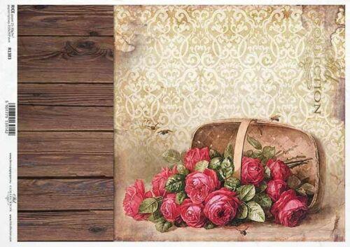 Reispapier-Motiv Strohseide-Decoupage-Serviettentechnik-Vintage-Rose-R1383