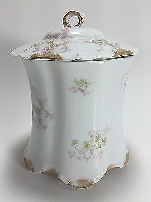 Antique Haviland and Co Limoges Hand Painted Pink Floral Gold Gild Tea Caddy