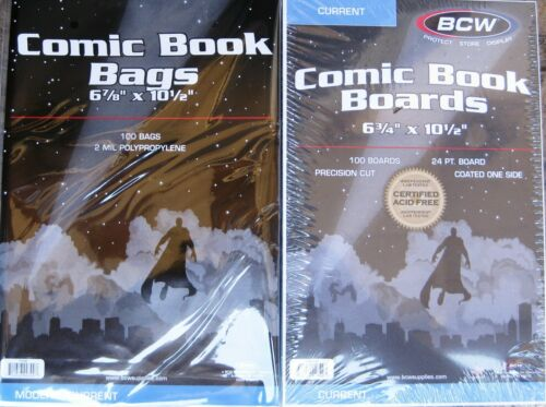 MODERN COMIC BOOK SIZE BAGS BCW CURRENT 25 COVERS /& BACKING BOARDS