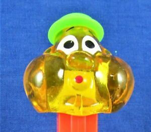 PEZ - BUBBLEMAN -  ***  (1999) Yellow Crystal Head / Neon Red Stem  *** -  LOOSE