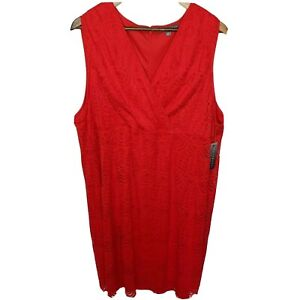 Sharagano-Red-Lace-Overlay-Dress-22W-Sleeveless-Surplice-V-Neck-Plus-Size-New