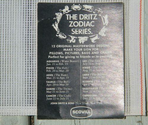 Dritz Zodiac Series Luxury Needlepoint Pre-worked Canvas 100/% Wool VTG Scovill
