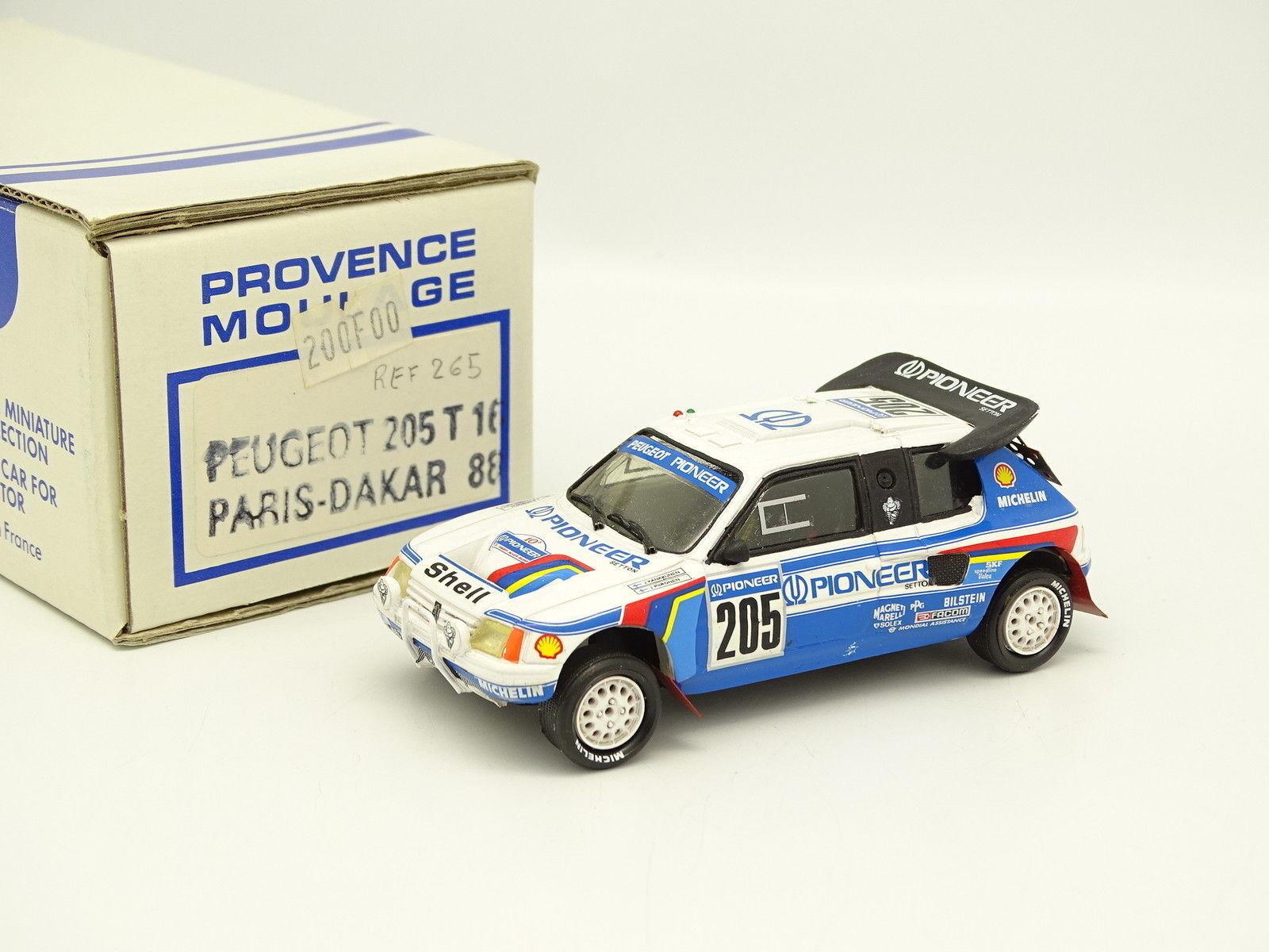 Provence Moulage Kit Monté 1 43 - Peugeot 205 T16 Paris Dakar 1988 Kankkunen