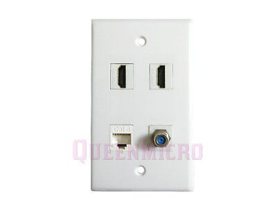 Wall Face Plate 3 Ports F-TYPE COAX CABLE TV Adapter Connector Faceplate