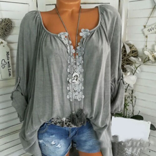 Womens Tie Dye Floral Long Sleeve Tops Loose Blouse Summer Tees Shirts Plus Size