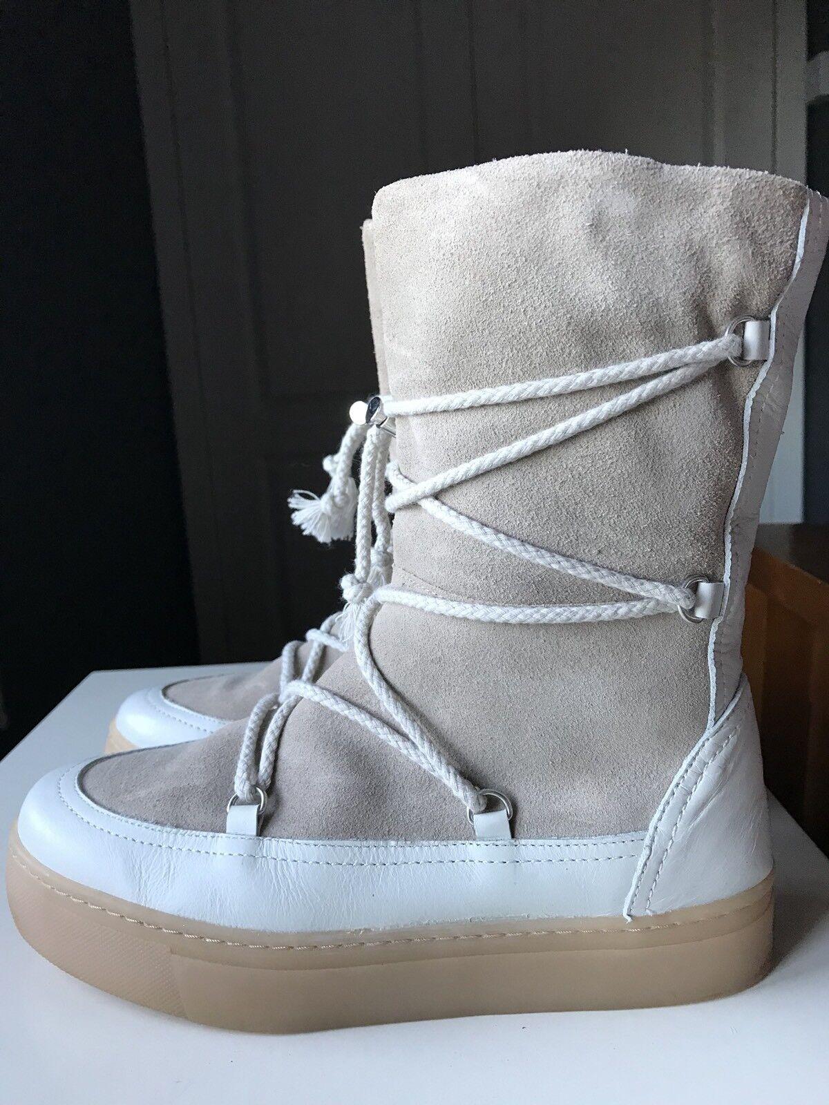 Zara Diseñador Damas Mujeres Cuero Crema Beige Tobillo Pantorrilla Pantorrilla Pantorrilla Zapato Bota Talla 5 38  se descuenta
