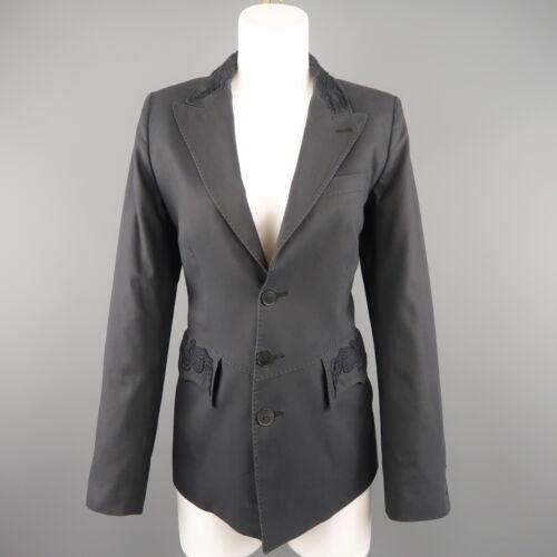 JEAN PAUL GAULTIER Size 10 Gray Cotton Embroidered Peak Lapel Blazer Jacket