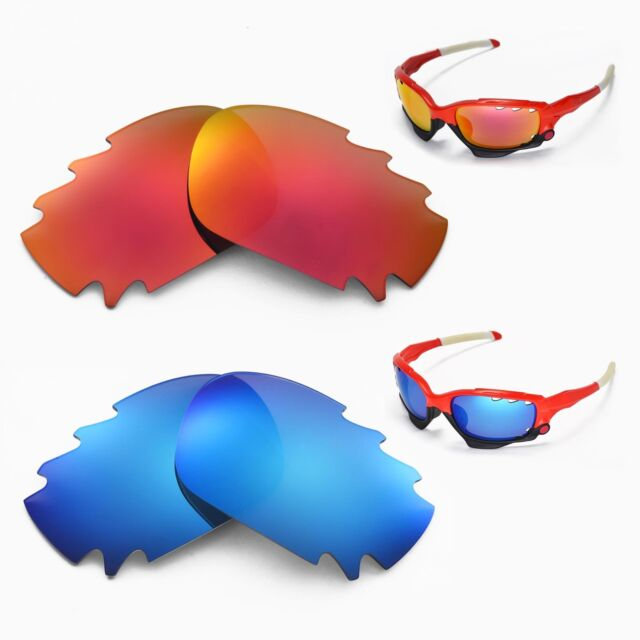 ad55892713 New Walleva Polarized Fire Red + Ice Blue Vented Lenses For Oakley Jawbone