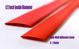 "3:1 Shrink Ratio Dual Wall Adhesive Glue Lined Heat Shrink Tubing Tube 1//4/"" 15ft"