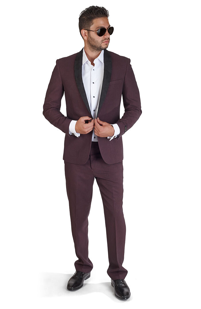 Slim Fit Men Suit Burgundy One Button Shawl Suede, Flat Front Pants By Azar
