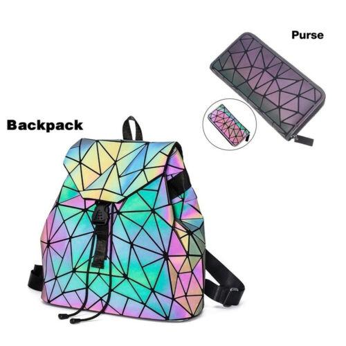 ×× Geometric Luminous Women Purse Holographic Reflective Flash Colorful Daypacks