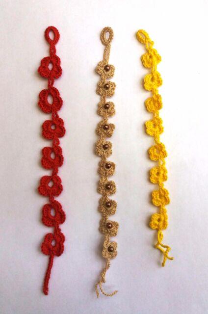 brand new 0fe31 a83e8 bracciale fatto a mano ad uncinetto tipo cruciani in cotone e perle idea  regalo
