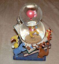 RARE Disney Store Winnie the Pooh Eeyore Tigger Roo Piglet Snowglobe Music Box