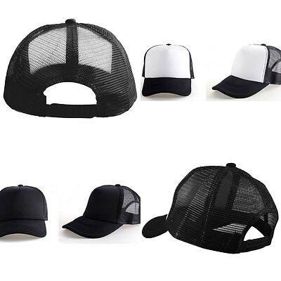 Men Women NEW Vintage Plain Trucker Mesh Hat Snapback Blank Baseball Cap Tone