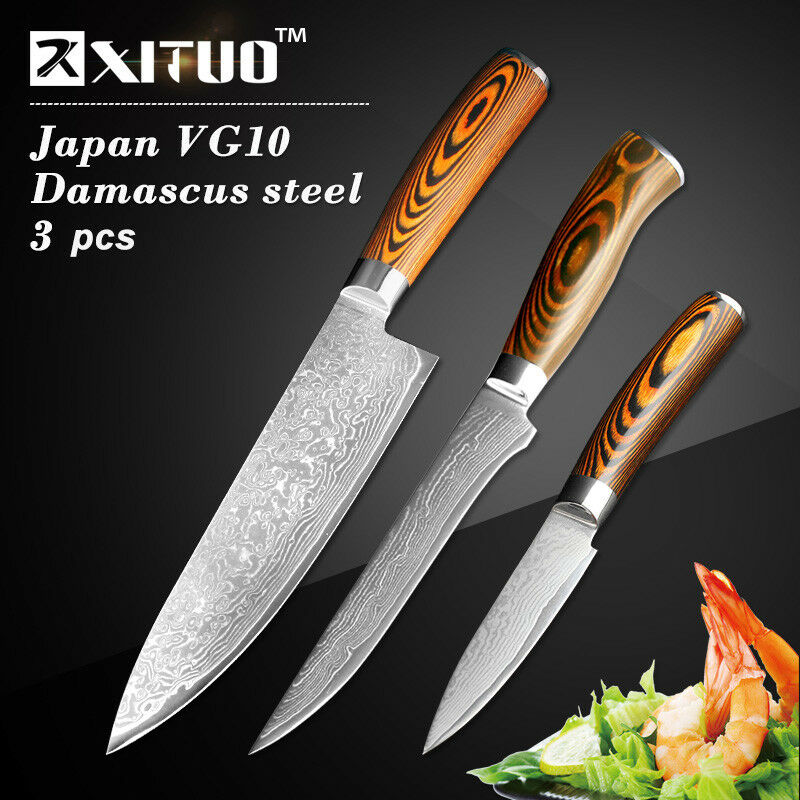 Damascus Steel Knife Set Gyuto Chef Hamokiri Kitchen Knives Boning Fruit Paring