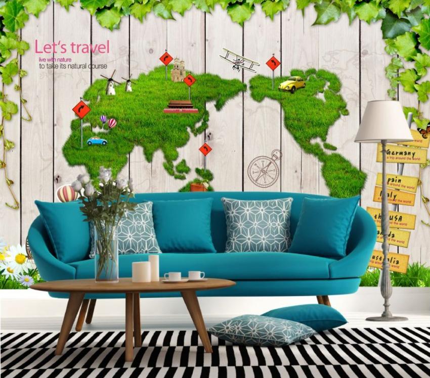3D Grün Turf Car Paper Wall Print Wall Decal Wall Deco Indoor Murals