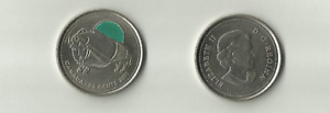 CANADA-2011-CANADIAN-BISON-QUARTER-EMERALD-COLORIZED-25-CENT-COIN-Circulated