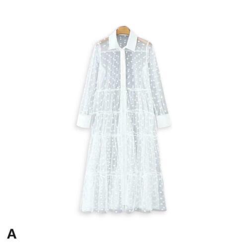 Damen Shirt Kleid Tunika Spitze Polka Dot Patchwork transparentes Langarm K G8H5