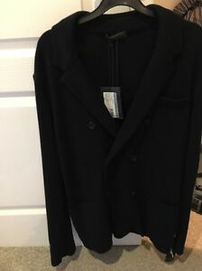 Uk double 100 Cotton Men's Jacket 42 Giacca Navy Doppio Breasted Petto Prada wvIq0OO