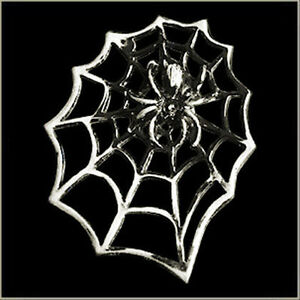 SPIDER IN WEB LARGE PIN  2 INCH BIKER PIN