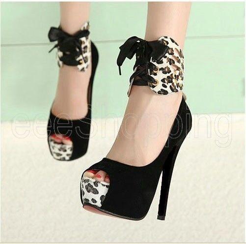 Ladies Women High Heels Pumps Stiletto Platform Peep Toe Sandal Waterproof Shoes
