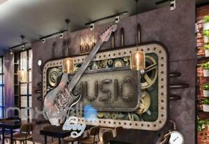 Steam Punk Music Guitar Mural Metal Art Wall Murals Wallpaper Decals